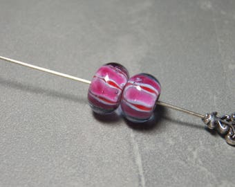 Vintage Light Purple with Red and Orange Swirls Smooth Rondelle Glass Beads  - 15x10mm (2)