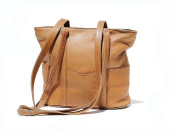 Vintage Tan Leather Tote Shoulder Bag