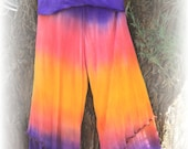 Bamboo Lycra waistband soft rayon knit pants in a gorgeous hand dyed sunrise THE most comfortable pants you will ever wear!