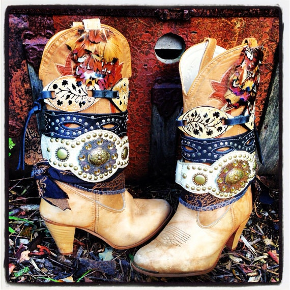 Custom Upcycled Tall Festival Boots ~ Choose your favorite theme ~ Send me your favorite tall boots to decorate ~ Made To Order