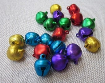 20 Small Coloured Metal Bells