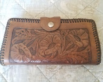 Vintage 70s Large Tooled Leather Wallet