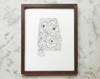 Alabama > Camellia > State Flower Drawing> Giclee Print