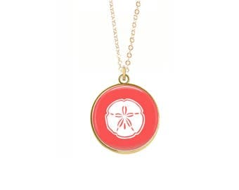 Sand Dollar Necklace, Gold, Silver, Coral, Sand Dollar Charm, Beach Necklace, Preppy Necklace, Glass Charm (Sand Dollar Necklace)