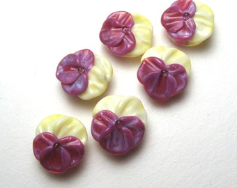 PANSIES Lampwork Glass Flower Beads in Yellow and Purple handmade artisan crafted jewellery supplies sra
