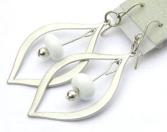 Modern White Earrings - White Beaded Earrings - Silver Teardrop Earrings - White Jewelry - Glass Earrings - Earrings For Summer - Minimalist