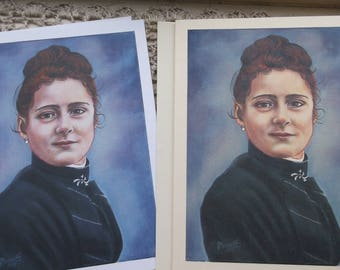 Saint Therese at Age 15, Stationary Cards with Envelopes on White and Ivory Card Stock taken from my OOAK Original Signed Arcylic Painting
