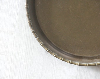 Round Brass Serving Tray w/ Bamboo Edges