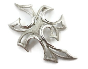Trifari Jewelry Brooch - Mid Century Modern, Silver Tone MCM Costume Jewelry