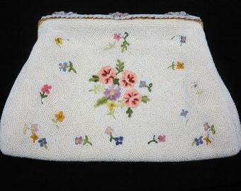 White Beaded Purse - French Floral Embroidered Seed Bead Bridal Wedding Clutch Bag
