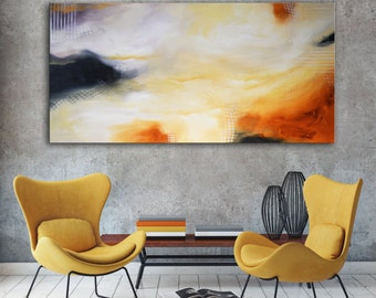 Large Gold Abstract, large original painting, Gold Yellow large art, Original painting on canvas ready to hang, cream beige painting, white