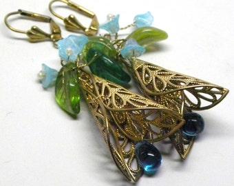 Woodland Fantasy Flower EARRINGS Aquamarine Glass Teardrop Blue Opaline Glass Flowers Miriam Haskell RGP Lace Filigree Wedding Bride Bridal
