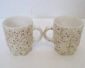 Fire King Concord Brown Speckled Coffee Cups Mugs