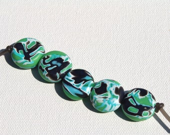 Polymer Clay Beads/Green-Blue-Black-White