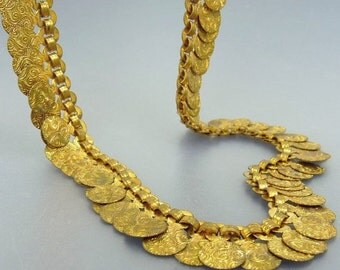 Vintage Art Deco Brass Disk Necklace Egyptian Revival Jewelry