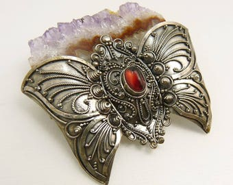 Vintage Sterling Silver Raw Amethyst Butterfly Brooch Pendant