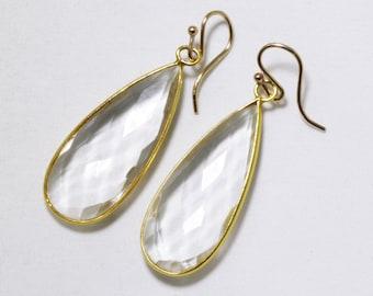 Quartz Gemstone Earrings Clear Quartz Earring Faceted Crystal Earrings Genuine Quartz Crystal Earrings 14k Gold Bezel BZ-E-139-CQtz/g