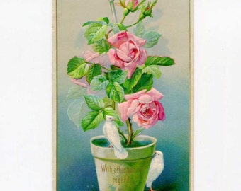 Antique Raphael Tuck Affection, Valentine Card, c 1890, With affectionate regards, Pot of Pink Roses and Doves, Paper Ephemera
