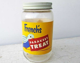 Vintage 1950's French's Parakeet Treat Bird Food Glass Advertising Jar  Lid and Paper Label with Parakeet Bird, Bird Food  Container