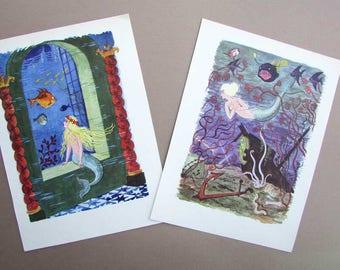 Vintage 1960  Little Mermaid by Hans Christian Andersen Child's Story Book Illustrations, Prints for Framing, 2 Vintage Prints
