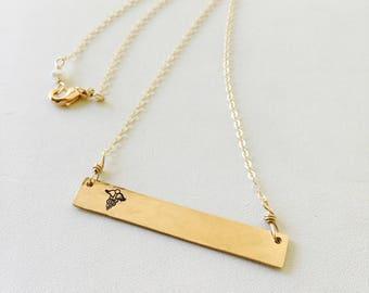 Gold Medical Alert Necklace, Silver Medical Alert Necklace, Gold Medical ID Necklace, Medical Alert Necklace, Personalized Gold Bar Necklace