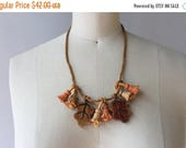 STOREWIDE SALE 1930s Necklace / Vintage 30s Wooden Novelty Necklace / Bells and Leaves 1930s Wood Necklace