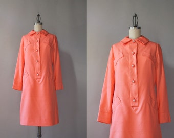 1960s Silk Dress  / 1960s Carlye Belted Mini Dress / Vintage 60s Dress