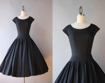 Vintage 50s Dress / 1950s Ann Fogarty Dress / 50s Black Cotton Circle Skirt Dress with Pockets XS extra small