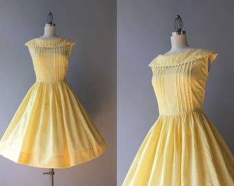 Vintage 50s Dress / 1950s Sunny Yellow Checked Cotton Dress / 50s Full Skirt Sleeveless Dress S small S/M