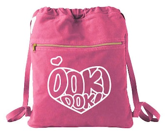 Kawaii Backpack Doki Doki Cinch Bag - cute heart pastel goth drawstring bag anime tote manga shoujo japan kawaii cute rucksack sweet lolita