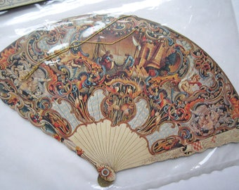 Vintage Victorian style ornate small paper fan ornament decoration by Treasure House Imports from Hong Kong ephemera