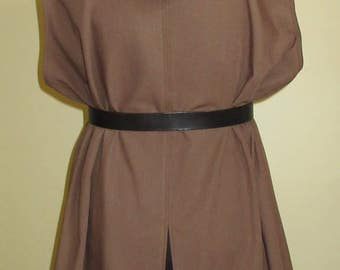 "Tunic with Hood, Ready Made, Medium Brown Linen Look, 52"" Chest, XL"