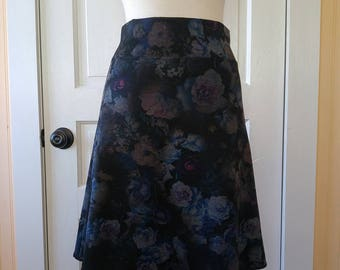 Jersey Knit Skirt - Slim A-line - Floral Space Dye Pattern in Blue - Size Medium