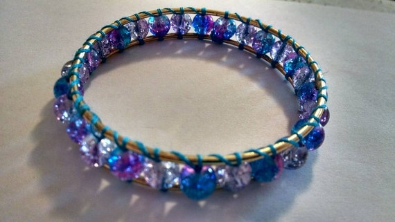 Double Bangle Bracelet Gold Tone with Blue and Pink Galaxy Beads Wrapped in Between Double Wrap Bangle Bracelet Boho Chic Friend Wedding