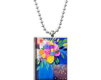 Flowers in a Vase Glass Pendant, Glass Jewelry, Colorful Floral Glass Tile Necklace, Funky Flower Charm
