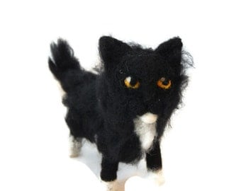 Black and white cat ornament,  Custom kitten Sculpture, Halloween cat Figurine made to order - small size