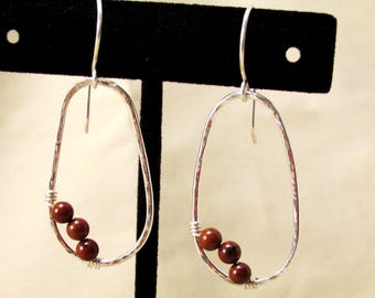 Obsidian Earrings -brown bead earrings - oval earrings - boho oval earrings - silver earrings - rustic earrings - small bead earrings