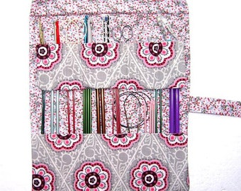 Pink Knitting Needle Storage Organizer, Grey Maroon Crochet Hook Holder, Floral Artist Brushes Case, Cream Double Pointed Needle DPN Roll