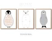 Polar Bear art print, Penguin Art Print, Seal Art Print, Print set of 3, Kids room art, Baby Nursery room Art, Newborn gifts