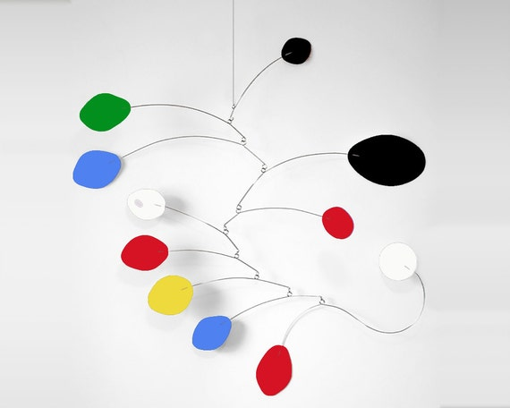 Midcentury Modern  Inspired Mobile by Atomic Mobiles - 3 Sizes - Calder Inspired Retro Art Blue Red Yellow Black Green White