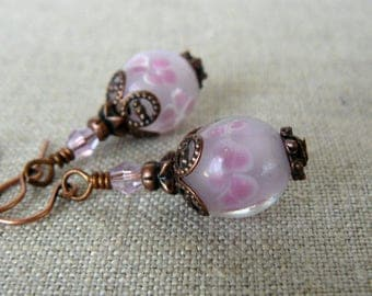 Pale Pink Earrings, Pink Lampwork Glass Bead Dangles, Boho Vintage Mauve and Copper Earrings, Glass Bead Jewelry, Gift For Her