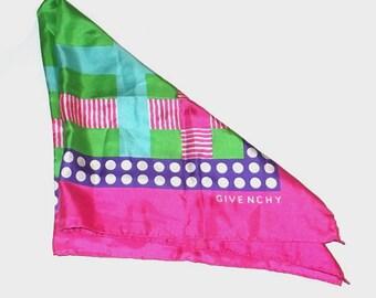 1990s vintage scarf / 90s bandana / Givenchy / silk / Jewel Tone Geometric Scarf by Givenchy