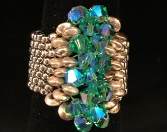 SZ 7 Heavenly Beadwoven Hand Beaded Ring Platinum Plated Delicas Genuine Swarovski & Sterling Silver