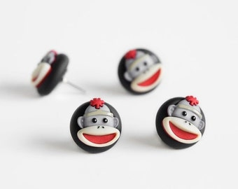 Sock Monkey Push Pins. Home Office Organization for Cork Boards, Bulletin Boards, Memo Boards. Handmade in Black Polymer Clay. Gift Set of 4