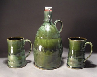 Stoneware flip top 64oz beer Growler and 16 oz Mug or Tankard set in Green
