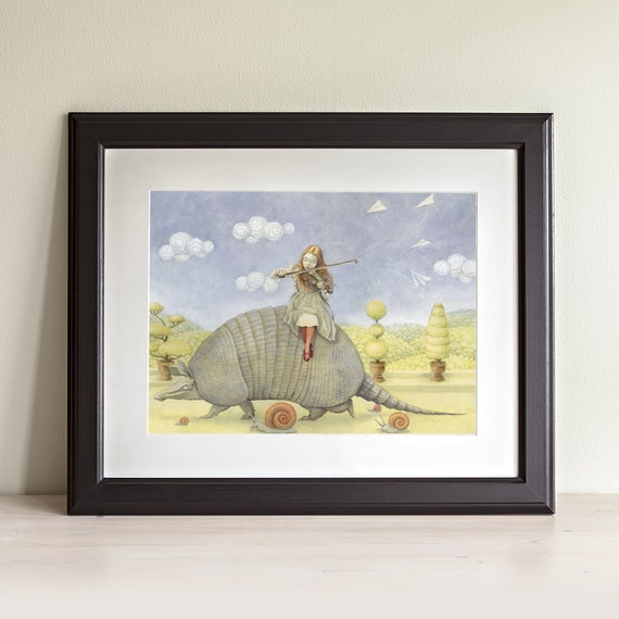 "Armadillo 8x10 Fine Art Print, Girl with Violin Painting, Fairy Tale Art, ""Armadillo Dream"""