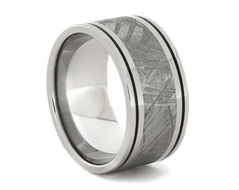 Titanium Ring Featuring a Spectacular Meteorite Inlay Offset With Black Enamel Pinstripes