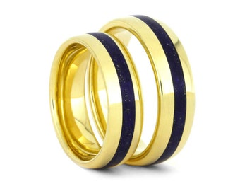 Lapis Lazuli Wedding Band Set, 14k Yellow Gold Rings, His And Hers Matching Ring Set