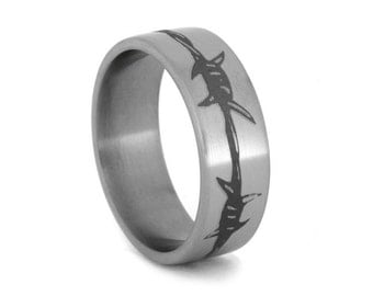 Barbed Wire Ring on Titanium Band, Laser Engraved Ring, Barbed Wire Tattoo type ring