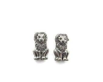 Pair of Silver-tone Pewter Sitting Lion Beads